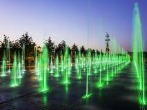 在克里米亚半岛堤防的喷泉,莫斯科,俄罗斯 免版税图库摄影