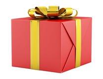 χρυσό απομονωμένο κόκκινο λευκό κορδελλών δώρων κιβωτίων Στοκ Φωτογραφίες