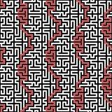 水平的迷宫传染媒介无缝的样式 免版税库存照片