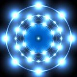 Голубой неоновый круг Стоковые Фотографии RF
