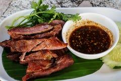 猪肉外皮,猪肉损伤,猪肉脆皮在泰国 免版税库存图片