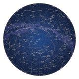 北半球高详细的云底亮度图与星的名字的 免版税库存照片