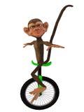 与单轮脚踏车的动画片猴子 库存照片