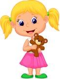 小女孩藏品熊材料 图库摄影