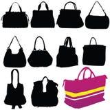 妇女时尚袋子黑色剪影 库存图片