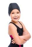 Το κορίτσι με κολυμπά με αναπνευτήρα εξοπλισμός Στοκ Φωτογραφία