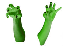 Зомби вручает зеленый цвет Стоковая Фотография