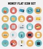 Επίπεδο σύνολο εικονιδίων σχεδίου χρημάτων Στοκ εικόνες με δικαίωμα ελεύθερης χρήσης
