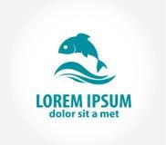 Шаблон логотипа дизайна вектора рыб абстрактный Стоковые Изображения RF