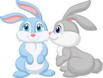 逗人喜爱兔子亲吻 库存图片