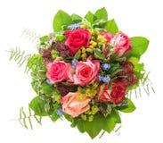 空白背景花束查出的玫瑰 桃红色和红色花 免版税库存照片