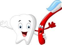 Οδοντικός χαρακτήρας κινουμένων σχεδίων δοντιών και οδοντοβουρτσών Στοκ Φωτογραφία