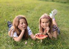 与红色伞菌的两个孩子 库存图片