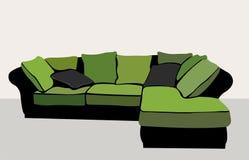 绿色沙发向量 免版税库存照片