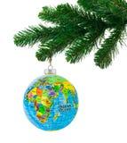 地球和圣诞树 库存照片
