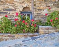 希腊,有蓝色窗口和花的石墙 图库摄影