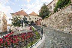 圣乔治和龙雕象,萨格勒布,克罗地亚 免版税图库摄影