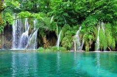 普利特维采湖群国家公园瀑布 免版税库存照片
