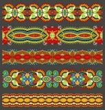 无缝的种族花卉佩兹利条纹样式, 免版税图库摄影