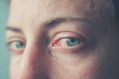 关闭在妇女的哭泣的眼睛 免版税库存照片