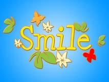 微笑开花手段卖花人面孔和花束 图库摄影