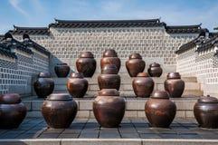 韩国泡菜瓶子 库存图片