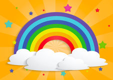 彩虹星和云彩背景 库存图片