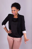 愉快的非裔美国人的女商人-黑人 库存图片