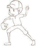 棒球运动员的一个简单的剪影 免版税库存照片