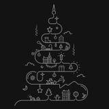 在线型的抽象圣诞树 库存图片