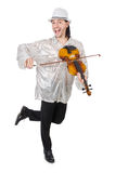 有小提琴的滑稽的人 免版税库存图片
