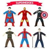 套超级英雄 库存图片