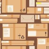 包裹和箱子无缝的样式 免版税库存图片