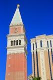 圣马克钟楼、威尼斯式度假旅馆和赌博娱乐场复制品, 库存照片