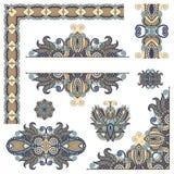 套佩兹利页的花卉设计元素 免版税库存照片