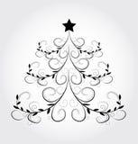 与抽象圣诞树的冬天背景 库存图片