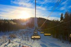 家庭滑雪假期 免版税库存图片
