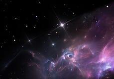 星云 气体和尘土云彩阻拦遥远的星光  库存照片