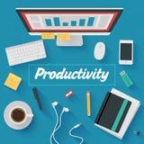 平的设计例证:有生产力的办公室工作场所 免版税库存照片