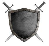 徽章中世纪骑士盾和剑 库存图片