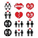 Ομοφυλοφιλική ή λεσβιακή αποσύνθεση ζεύγους, εικονίδια διαζυγίου καθορισμένα Στοκ φωτογραφία με δικαίωμα ελεύθερης χρήσης