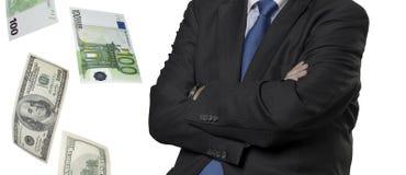 Οικονομικός ανώτερος υπάλληλος με τους λογαριασμούς ευρώ και δολαρίων Στοκ εικόνα με δικαίωμα ελεύθερης χρήσης