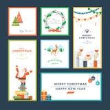Σύνολο επίπεδων Χριστουγέννων σχεδίου και νέων προτύπων ευχετήριων καρτών έτους Στοκ Εικόνα