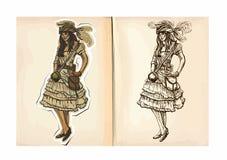Βιβλίο χρωματισμού παιδιών - πειρατής, γυναίκα Στοκ Εικόνες