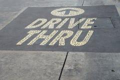 通过在水泥地板上的词驾驶 免版税库存图片