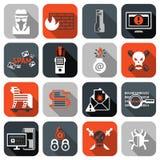 Εικονίδια χάκερ καθορισμένα επίπεδα Στοκ Εικόνα