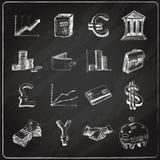 Τα εικονίδια χρηματοδότησης καθορισμένα τον πίνακα κιμωλίας Στοκ Εικόνα