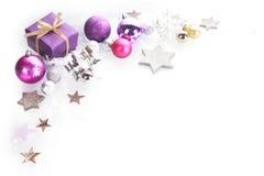 五颜六色的圣诞节角落边界背景 免版税图库摄影