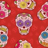 传染媒介墨西哥头骨无缝的样式 免版税库存照片