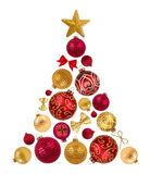 从装饰球、弓和星的圣诞树形状在白色 免版税库存图片